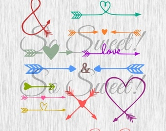 Love Arrows SVG / DXF Arrows for Silhouette Arrow Cut Files Ampersand Heart Word Arrows Trendy Tribal Scal svg dxf Wedding Love Relationship