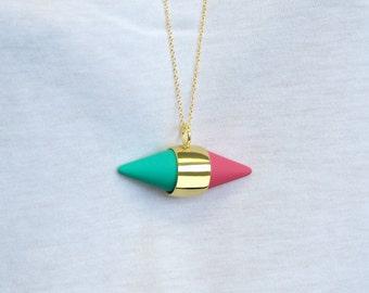 Gold Necklace, Long Necklace, Geometric Necklace, Mint Green Necklace, Statement Necklace, Pink Pendant, Gold Jewelry, Capsule Pendant, Gift