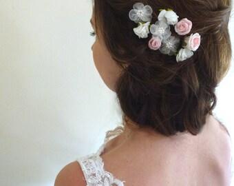 Bespoke White Pink & Ivory rose flower wedding bridal hair clips x 9