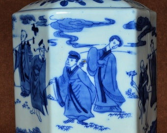 Vintage Chinese Blue and White Porcelain Tea Leaf Jar (1920-1940)