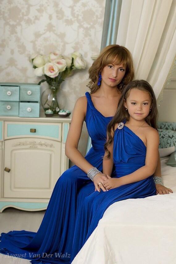 Mother daughter matching dress Blue Maxi Dress by