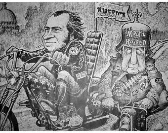 Vintage 1970s Richard NIXON~CAPTAIN AMERICA~Easy Rider Poster