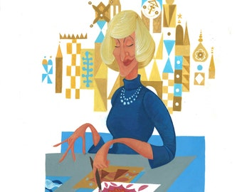 Mary Blair: Designer of Smiles (Disney Legend; Caricature Illustration Print)