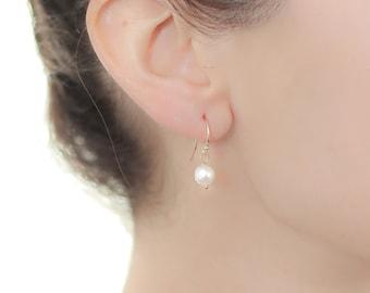 White Pearl Gold Dangle Earrings - Pearl Earings Wedding - Pearl Earrings Dangle - Pearl Earrings Bridesmaid - Freshwater Pearl Earrings