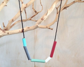 Simple and Minimal Necklace in Blue, Gray, Green, White and Red, with Cord