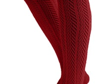 The Original Women's Button Boot Socks With Lace Trim Burgundy by Modern Boho