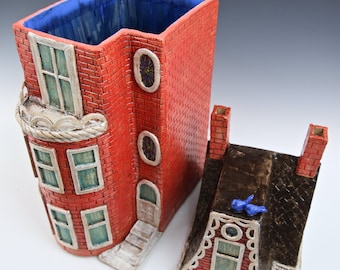 Tomato Red Row House // Washington DC. Row House // Ceramic Sculpture // Architectural Sculpture // Canister // Ceramic Sculpture // Hous