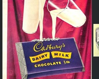 Original Vintage 1950s Dairy Milk Chocolate 'Taste the cream!'- Picture Post Magazine 13 June 1953