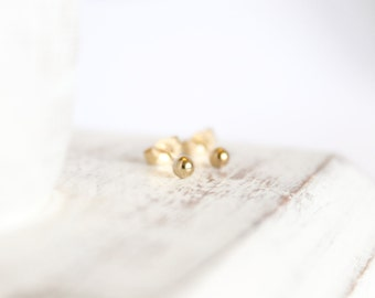 14k Gold Studs - 3mm Ball Earrings - Simple Gold Studs - Gold Posts - Tiny Earrings - Small Round Studs - Baby Earrings - Solid 14k Gold