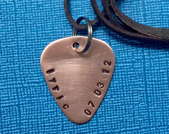 Custom Guitar Pick Necklace - Child Name Birthdate-  Gift for Wife - Metal Guitar Pick - Customized Pick