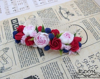Flower Hair Comb, Comb, hair comb, hair accessories, flovers, accessories, claycraft by deco, clay, polymer clay