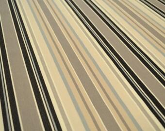 Heavy Duty Outdoor Stripe Fabric - A5137 Graphite - Black Blue Beige