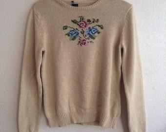 Tan Flower Sweater