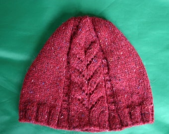 Knitted cap (red tweed)