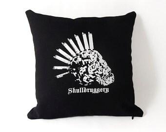 Black Twill  Punk Skull Pillow