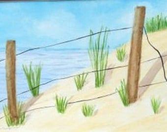 Beach Original Watercolor Painting, Handmade Artwork, 10 x 14, 14 x 16