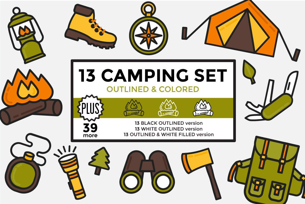 Camping Clipart / Hiking Clipart / Outdoors Clipart ...