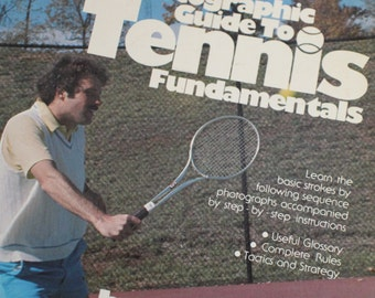 """Vintage 1978 """"A Photographic Guide to Tennis Fundamentals"""" Illustrated Black and White Retro Paperback Instruction Coaching Book"""