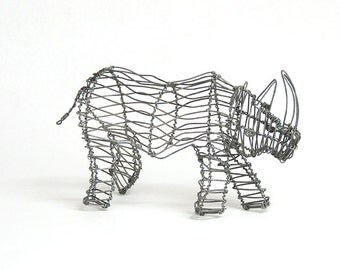 African animal wire sculpture - Rhino