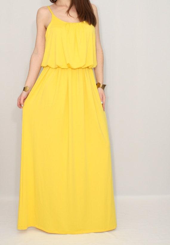 Yellow dress summer maxi dress bridesmaid dress by dresslike for Yellow maxi dress for wedding