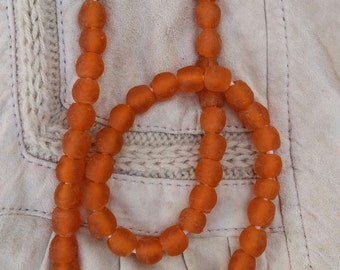 Orange Krobo Powder Glass beads, Recycled Glass Beads, Bead Necklace