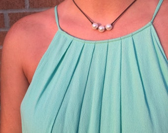 Three Pearl Leather Necklace Short Length