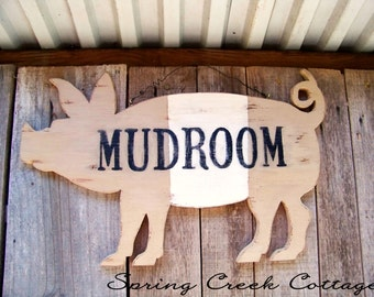 Rustic Farm Animal Signs, Unique Wood Signs, Mudroom, Handcrafted, Rustic, Pig Silhouette Sign, Farm Decor