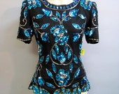 GORGEOUS Black SILK Shirt w Aqua Sequins & BEADS Vintage 1980's Retro 20's Inspired Flapper Style Top size Small