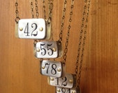 Salvaged number limited edition necklace - custom number.