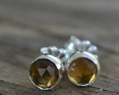 whiskey quartz and sterling silver small stud earrings