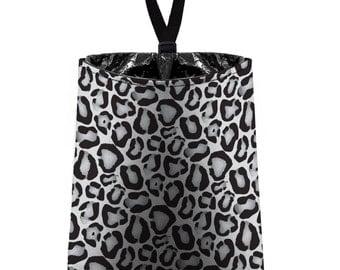 Car Trash Bag // Auto Trash Bag // Car Accessories // Car Litter Bag // Car Garbage Bag - Snow Leopard Print - Grey White Leopard