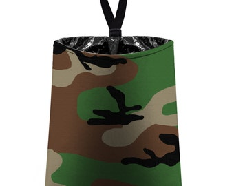 Car Trash Bag // Auto Trash Bag // Car Accessories // Car Litter Bag // Car Garbage Bag - Woodland Camo Camouflage