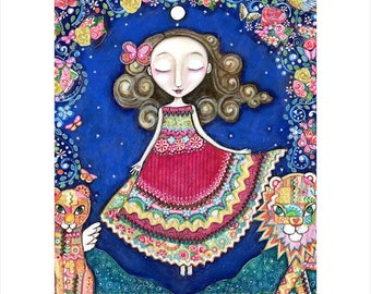 Womens A3 art print patchwork painting lion lioness wall art girls room art for kids whimsical folk art portal spiritual mixed media art.