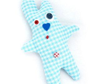 Rabbit Stuffed Animal SALE item - Little Rabbit Foo Foo Handmade Stuffed Animal Gift - Blue Gingham Crazy Bunny Plush Toy