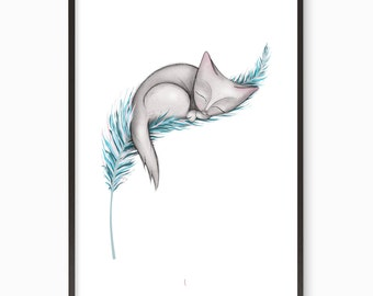 "Cat illustration art print - ""Light as a Feather""   A3 / A4 / A5 / 8 x 10 pastels feather cute kawaii kitten"