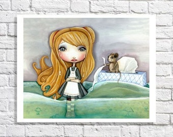 Fine Art Alice In Wonderland Art Little Girl Room Wall Art Cute Home Decor Big Eyed Print Gift Baby Nursery Decor Alice & The Sea Of Tears