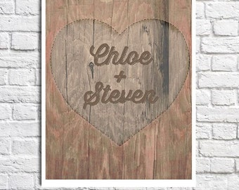 Personalized Couples Name Art Heart Carved In Tree Picture Love Print Customized Anniversary Gift For Girlfriend Cute Couple Gift Home Decor