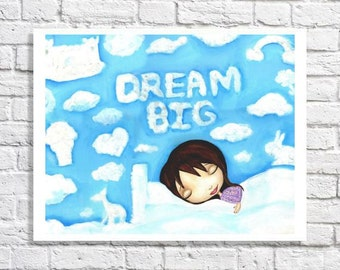 Dream Big Wall Art Dream Big Nursery Art Dream Big Painting Print Inspirational Quote Baby Shower Gift Baby Girl Nursery Art Baby Room Decor