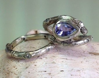 Rustic gold Twigs and branches wedding ring set with gemstone  - 14k recycled gold