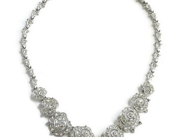 Vintage, Art Deco rhinestone necklace . Ora Jewelry.  Wedding jewelry, bridal necklace. Signed