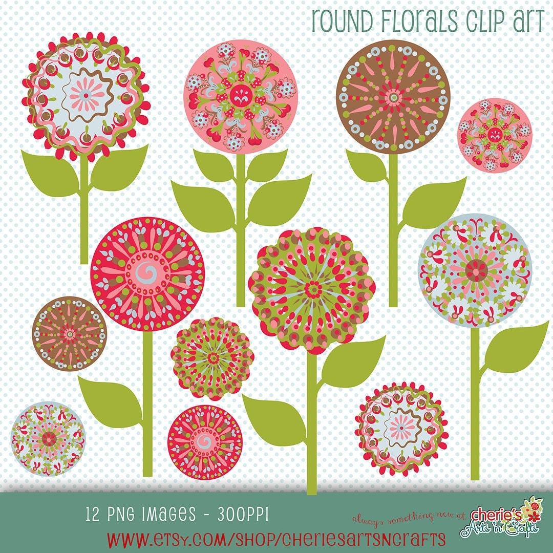 Floral Rounds Clip Art Round Flowers Clip Art Decorative PNG