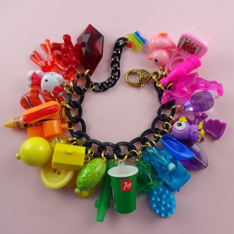 rainbow chunky charm bracelet big black by