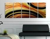 Orange, Yellow & Black Abstract Metal Painting - Modern Home Decor - Large Contemporary Metal Wall Art - Desert Sun by Jon Allen
