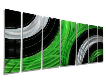 Abstract Metal Painting - Modern Metal Wall Art - Green, Black, Silver Large Contemporary Wall Sculpture - Verdant Mass by Jon Allen