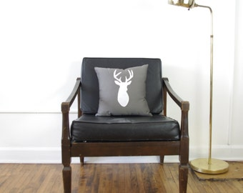 Medium Gray + White Deer Head Pillow - SALE Ready to ship!