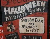 Old Spook Show Poster reproduction painting Orange Black Halloween vintage style
