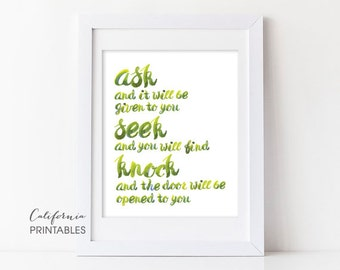 Christian PRINTABLE ART, Seek and You Will Find Matthew 7 Christian Gift Idea, Home Decor Wall Art, Bible Verse Wall Art, Christian Print 63
