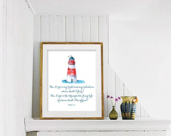 Lighthouse quote etsy lighthouse printable art the lord is my light wall art bible verse christian pronofoot35fo Images