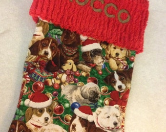 Gorgeous Puppy Dog Christmas Handmade Stocking with FREE US SHIPPING