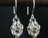 Short Sterling Silver Chainmaille Earrings, Chain Link Jewelry, Chain Mail Earrings, Short Silver Earrings